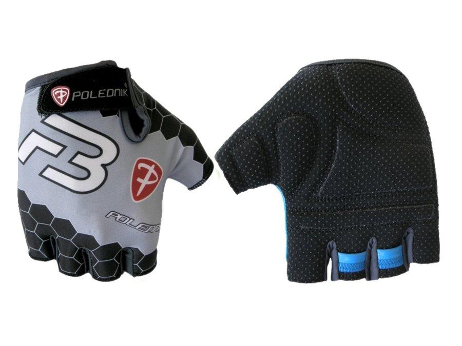Bílo-černé letní cyklistické rukavice Polednik - velikost M
