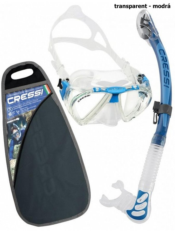 Potápěčská sada - Potápěčský set CRESSI Penta+Alpha Ultra Dry - transparent modrá
