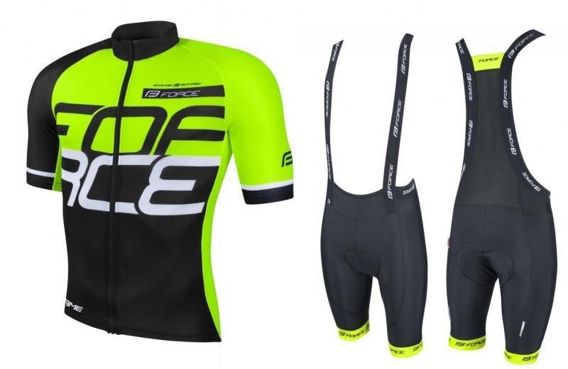 Černo-žlutý pánský cyklistický komplet Force - velikost S