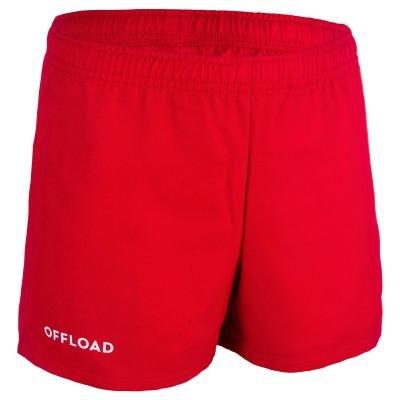 Červené dětské ragbyové kraťasy FULL H 100, Kipsta