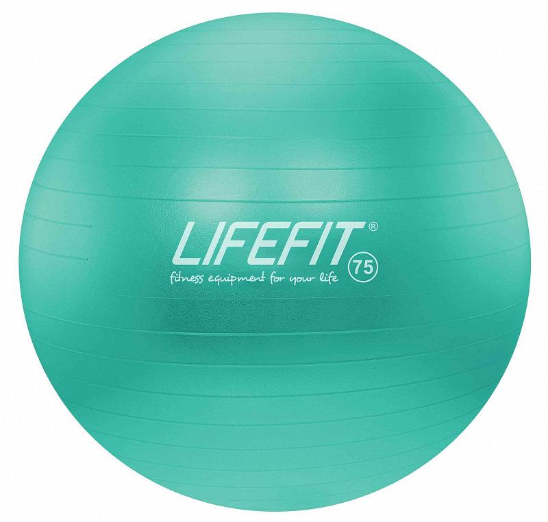 Tyrkysový gymnastický míč ANTI-BURST, Lifefit - průměr 75 cm