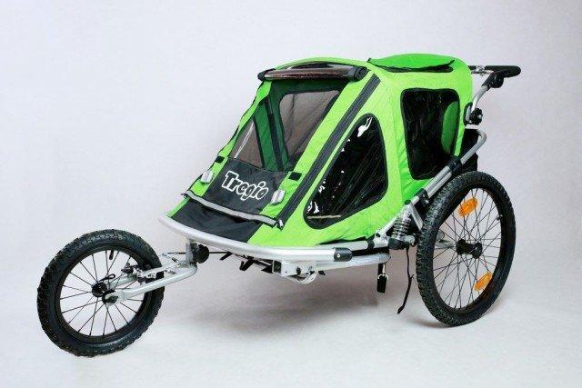 Zelený dětský vozík za kolo Tregio - nosnost 55 kg