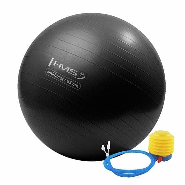 Černý gymnastický míč s pumpou ANTI-BURST, HMS - průměr 65 cm