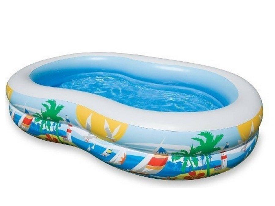 Dětský nafukovací nadzemní oválný bazén INTEX - délka 262 cm, šířka 160 cm a výška 46 cm