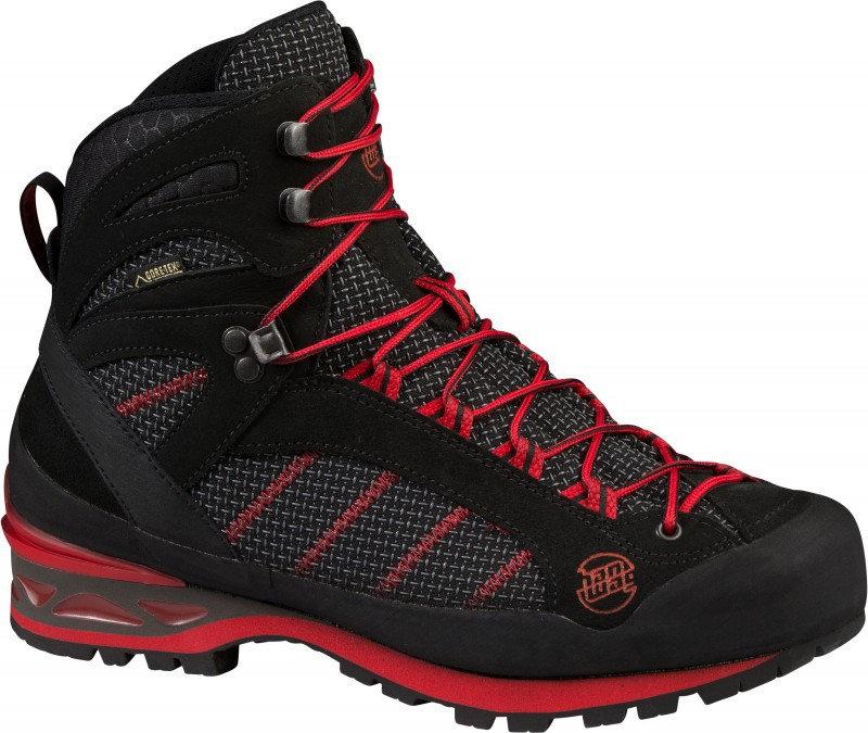 Černo-červené voděodolné pánské trekové boty Hanwag