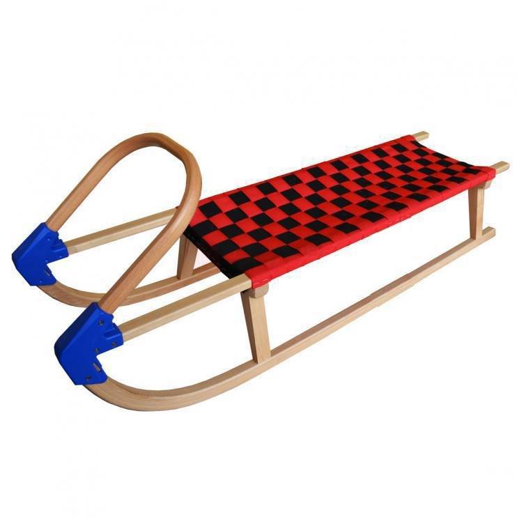Černo-červené dřevěné sáňky Bohemia Sport