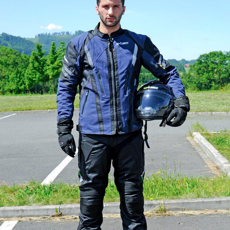 Černo-modrá pánská motorkářská bunda Briesau NF-2112, W-TEC - velikost 5XL