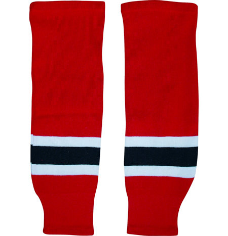Červené hokejové štulpny - senior Warrior