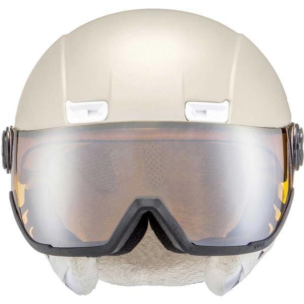 Béžová dámská lyžařská helma Uvex - velikost 53-58 cm