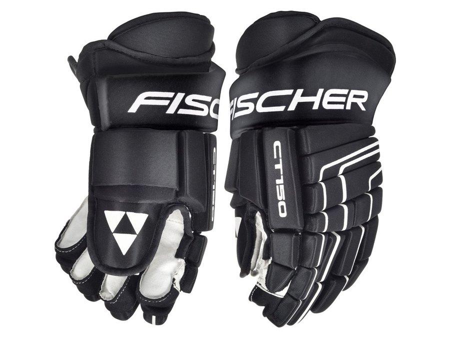 Bílo-černé dětské hokejové rukavice CT150, Fischer