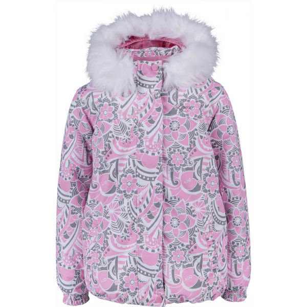 Růžová zimní dívčí bunda s kapucí Lewro