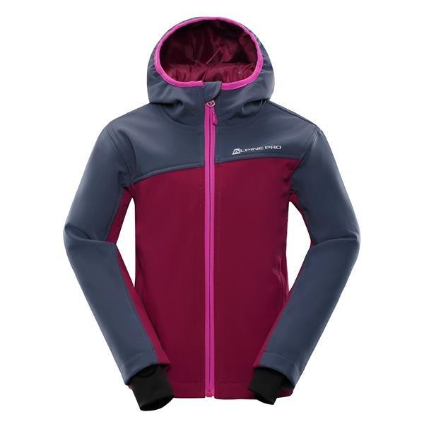 Růžová softshellová dívčí bunda s kapucí Alpine Pro - velikost 152-158