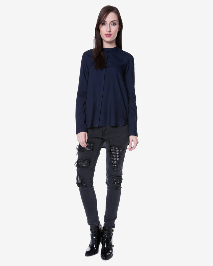 Modrá dámská košile s dlouhým rukávem Vero Moda - velikost L