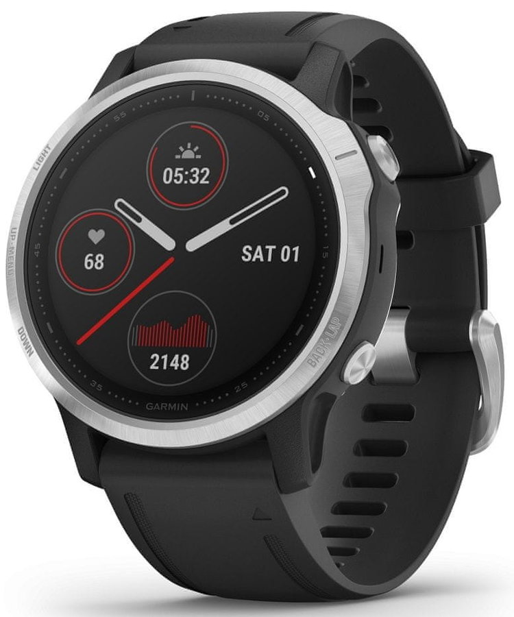 Černo-stříbrné sportovní analogové chytré hodinky Fenix 6S, Garmin