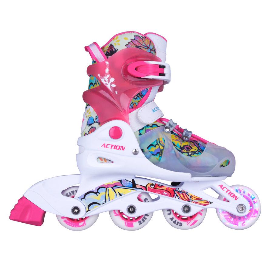 Růžové dívčí kolečkové brusle Doly, Action