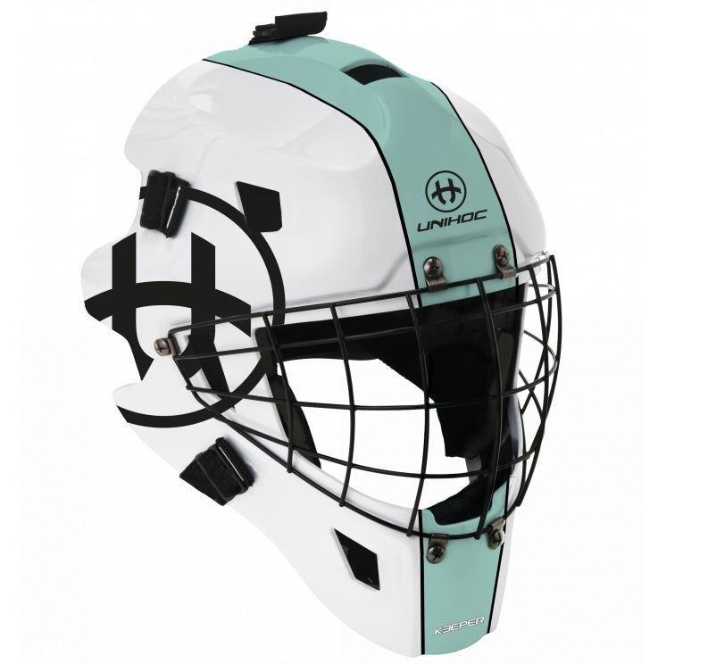 Bílá brankářská florbalová maska KEEPER, Unihoc
