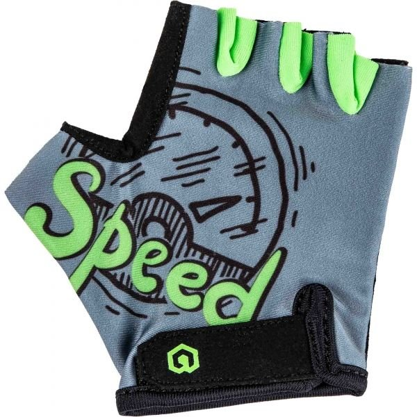 Šedo-zelené dětské cyklistické rukavice Arcore