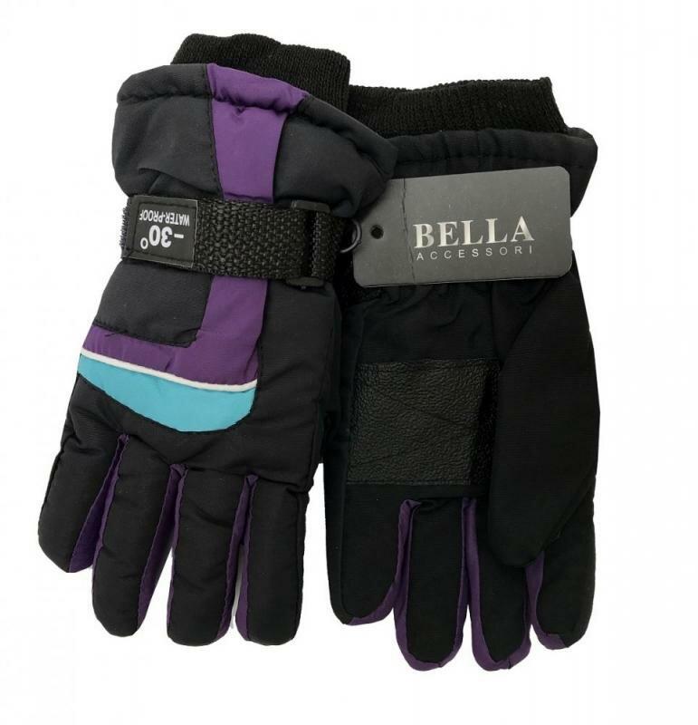 Černo-fialové dětské lyžařské rukavice