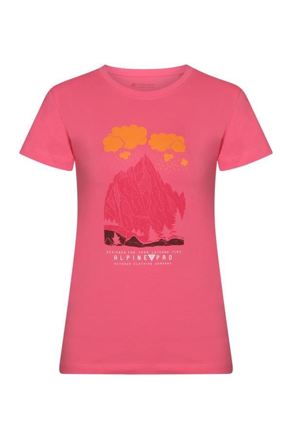 Růžové dámské tričko s krátkým rukávem Alpine Pro