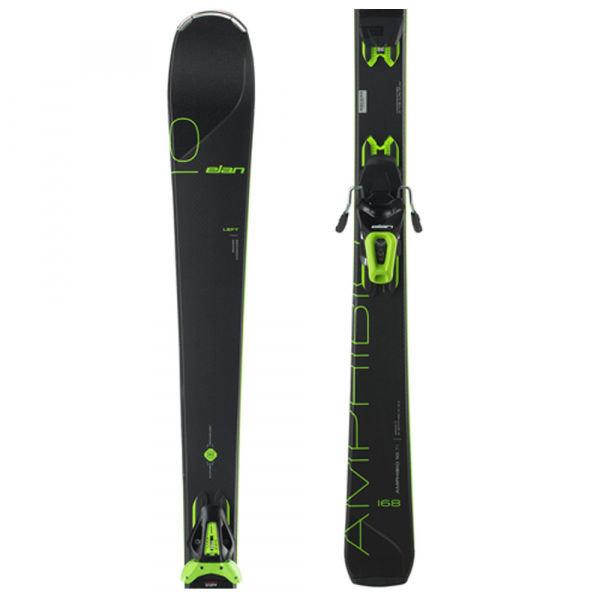 Černo-zelené lyže s vázáním Elan