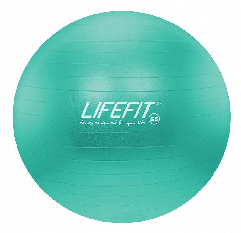 Tyrkysový gymnastický míč ANTI-BURST, Lifefit - průměr 55  cm