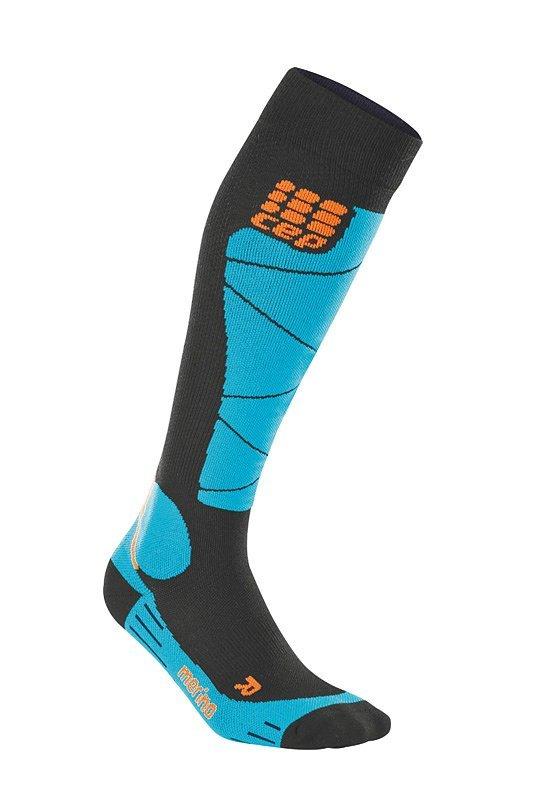 Černo-modré lyžařské ponožky CEP - univerzální velikost