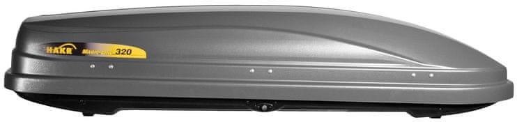 Stříbrný střešní box Hakr - délka 185 cm a šířka 60 cm
