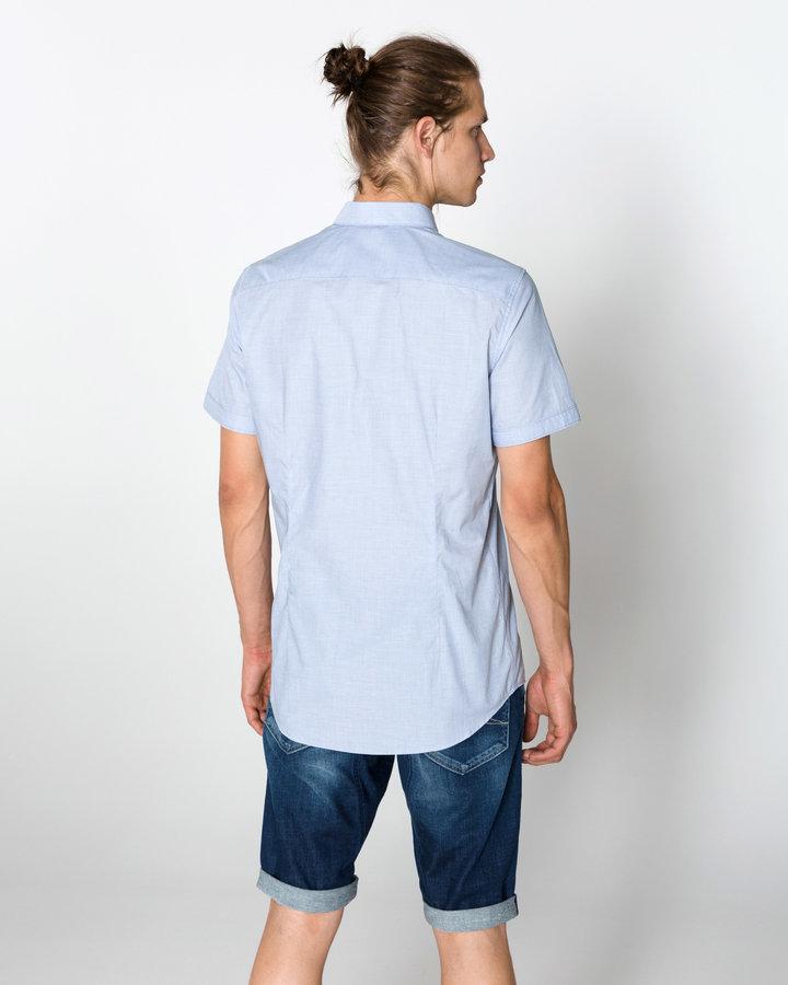 Modrá pánská košile s krátkým rukávem Tom Tailor