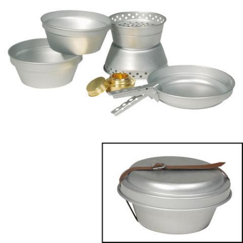 Kempingové nádobí - Nádobí ALU na vaření 3 dílná sada s vařičem na líh
