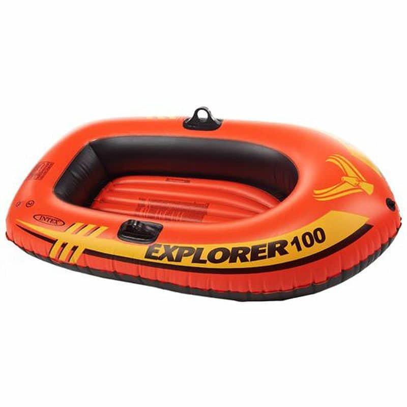 Oranžový nafukovací člun s nafukovacím dnem pro 1 osobu INTEX