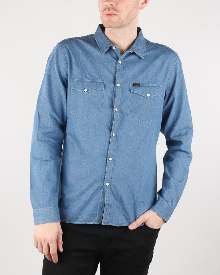 Modrá pánská košile s dlouhým rukávem Lee - velikost S