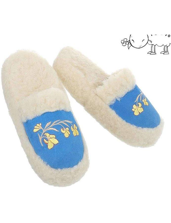 Bílo-modré dámské pantofle