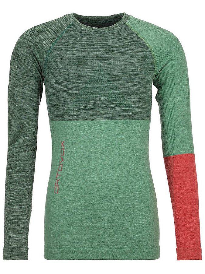 Červeno-zelené dámské termo tričko s dlouhým rukávem Ortovox