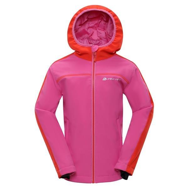 Růžová softshellová dívčí bunda s kapucí Alpine Pro - velikost 104-110