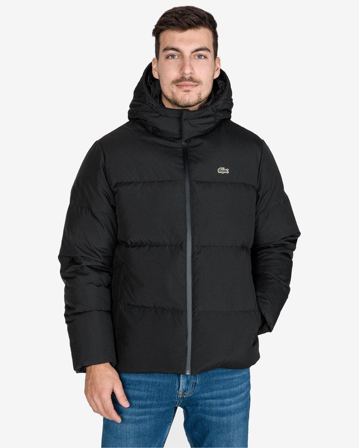 Černá zimní prošívaná pánská bunda Lacoste