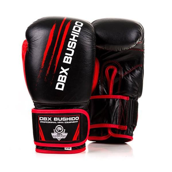 Černo-červené boxerské rukavice BUSHIDO - velikost 10 oz
