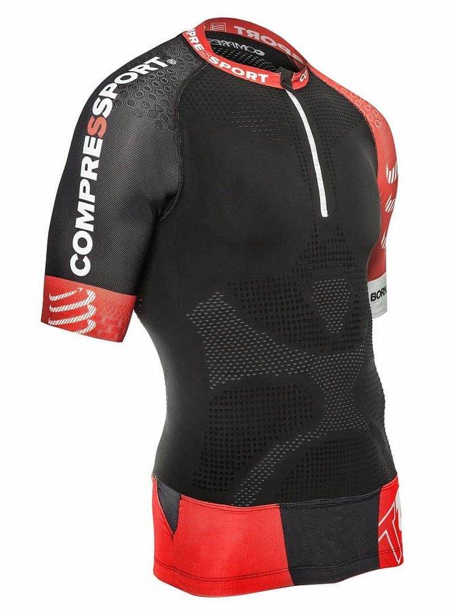Černý běžecký dres s krátkým rukávem CompresSport - velikost M