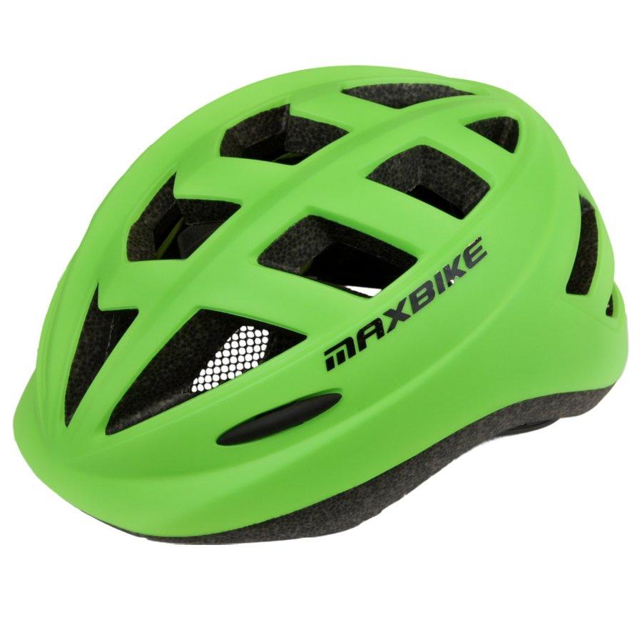 Zelená dětská cyklistická helma Maxbike - velikost 52-56 cm