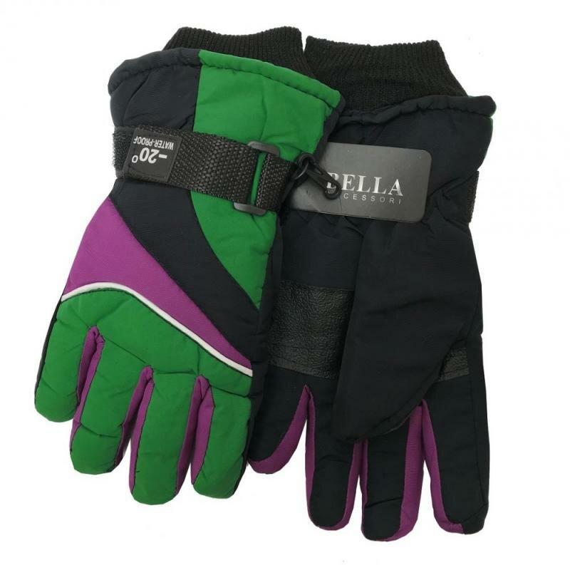 Černo-zelené dětské lyžařské rukavice