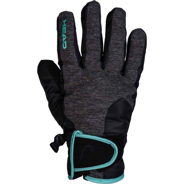Černo-šedé dámské lyžařské rukavice Head - velikost M
