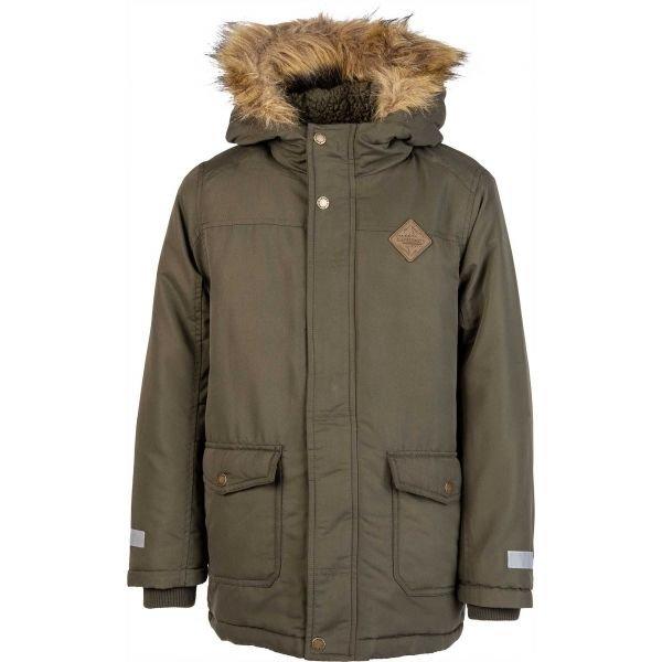 Zelený zimní chlapecký kabát Lewro