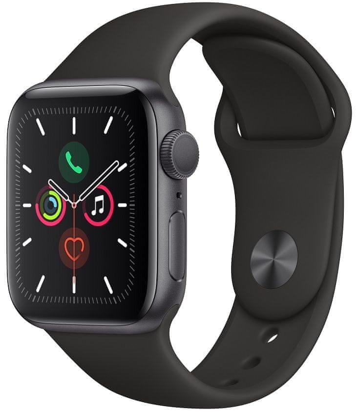Šedé analogové chytré hodinky Watch Series 5 GPS, Apple