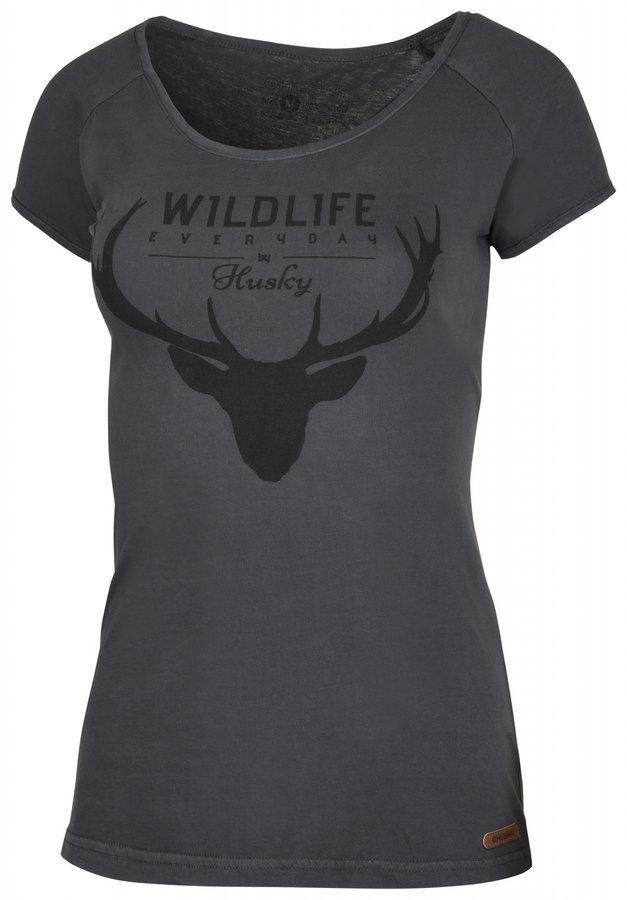 Šedé dámské tričko s krátkým rukávem Husky - velikost L