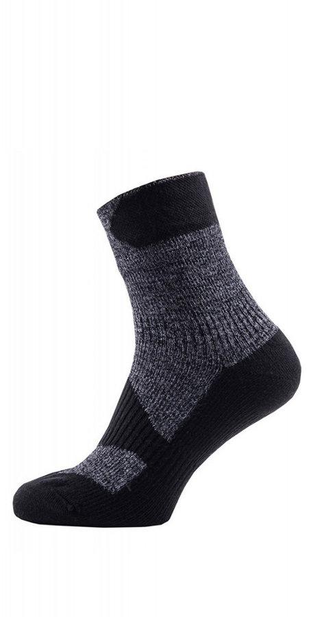 Černo-šedé kotníkové pánské trekové ponožky Sealskinz - velikost 47-49 EU
