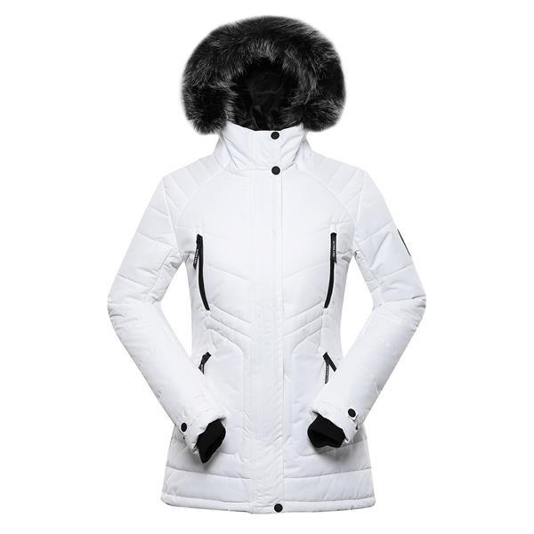 Bílá zimní dámská bunda s kapucí Alpine Pro - velikost S