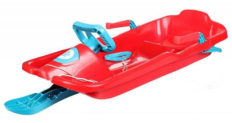 Červené dětské boby s volantem Merco