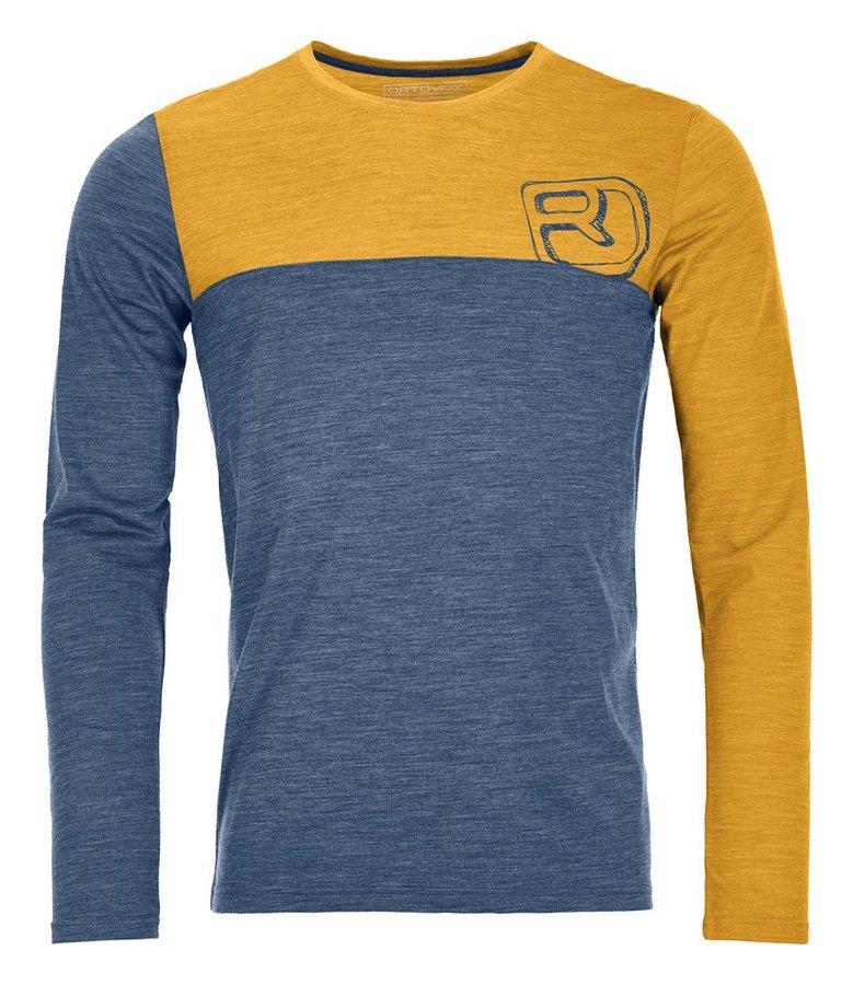 Modro-žluté pánské termo tričko s dlouhým rukávem Ortovox
