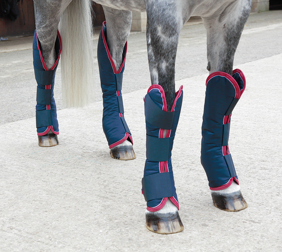 Kamaše pro koně - Kamaše přepravní tmavě modré s lemováním Full Shires