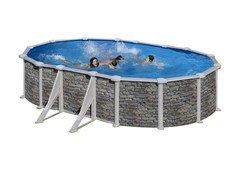 Nadzemní oválný bazén GRE - šířka 375 cm a výška 132 cm