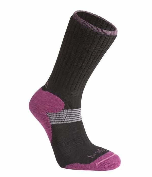 Černo-růžové dámské lyžařské ponožky Bridgedale